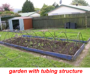 garden with tubing structure