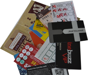 Loyalty cards out of one wallet