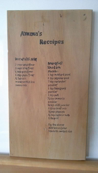 chopping board with receipe